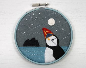 Felt puffin embroidery, Bird embroidery, Miniature embroidered Irish landscape, Puffin textile art, Hoop framed embroidery, Full moon.