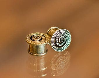 Spiral Brass Flesh Tunnel, Ear plugs, Tribal Brass Plugs, Spiral plug, Ear stretches, Tribal ear tunnel, Tribal gauge, Gauge plugs,Ear gauge