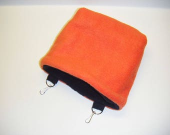 Sugar Glider, Cage Pouch, Rat Pouch, Small Animal Pouch, Reversible, Orange Fleece, Black Fleece, Small Pet Pouch, CooperStudios