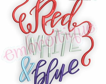 Red White & Blue with swirls  -Instant Download Machine Embroidery Design