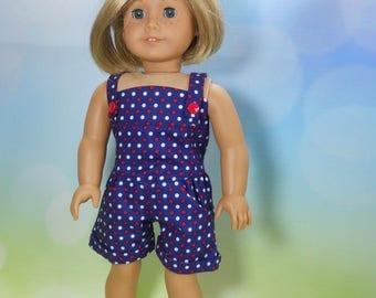 18 inch doll clothes, Three Piece Outfit, Blue with red and white Dots Romper, 05-2106