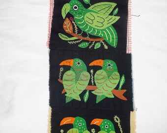 Handmade Macaw / Parrot Bird Mola • 8 1/2 X 7 1/2 inches