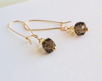 Citrine earrings, Citrine Quartz kidney wire  earrings, Long kidney wire earrings