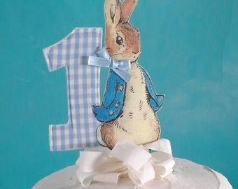 Shabby Chic Peter Rabbit cake topper, fabric Peter Rabbit First birthday party decoration G222