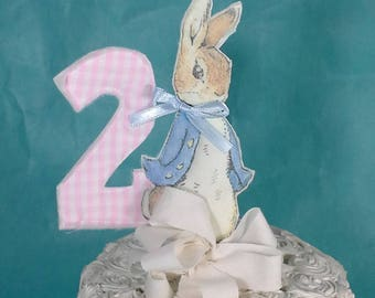 Shabby Chic Peter Rabbit cake topper, two fabric Peter Rabbit 2nd birthday party decoration G255
