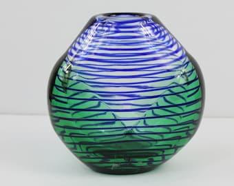 Modern Glass Nuvo A.G. Svoboda Czech Art Glass Blue Green Vase
