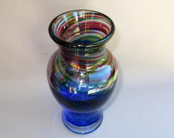 Hand Blown Art Glass Multicolored and Ink Blue  Color Bud Vase.