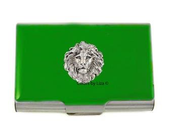 Lion Large Business Card Case Hand Painted Green Opaque Glossy Enamel with Personalized and Color Options