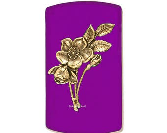 Floral Vertical Card Case Inlaid in Hand Painted Purple Opaque Enamel Engraving and Personalized Options Available Choose your Color