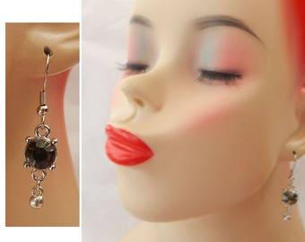 Silver & Black Glass Beaded Drop Dangle Charm Earrings Handmade Jewelry Accessories