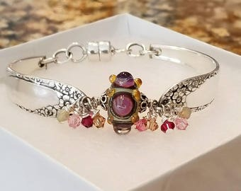 Silver Spoon Bracelet with Artisan Lampwork Glass Focal Bead