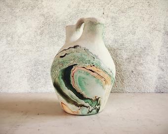 Vintage Nemadji pottery wedding vase green swirl, Mid Century ceramic vase souvenir pottery, Southwestern decor, ceramics and pottery vase