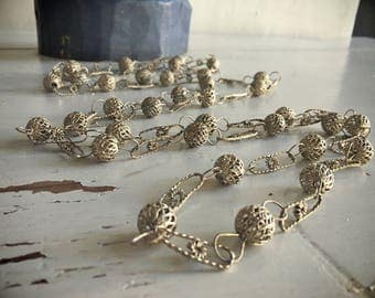 "Vintage 70"" silver Mexican wedding necklace, lasso ball link chain, bohemian jewelry, tribal necklace, 1970s silver filigree long necklace"