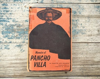 1970 hardback book Memoirs of Pancho Villa by Martin Luis Guzman third printing, hacienda decor, Mexico lover gift, Mexican Revolution story