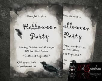 Printable Halloween Party Invitations - Gothic Elegant Black Raven Halloween Black Grungy / Digital Invite