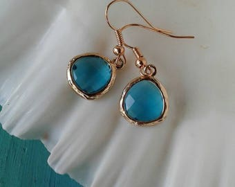Golden Teardrop Crystal Glass Earrings