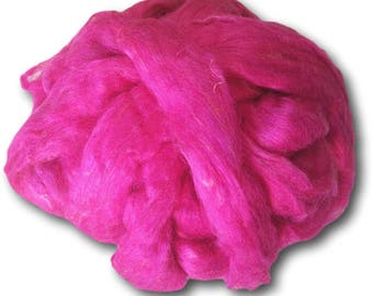 Pink Sari Silk Roving Upcycled Recycled For Spinning Felting Fibre Crafts