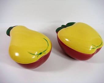 Apple and Pear Covered Pottery Apple and Pear Covered Dish Farm House Decor 1940's