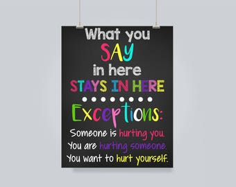 School Counselor / Counselor Office / Counselor Door Sign / Guidance Counselor / What You Say Here / Stays Here Sign / Counselor Poster