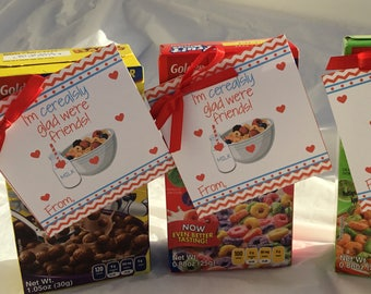 Instant Download, Cereal Valentine, Cereal, Kids Valentine, School Valentine, Valentine Exchange, Cereal, Valentine, Cerealsly, Cereal Tag