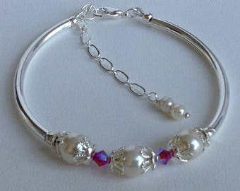Creamy White Pearl and Ruby Crystal Bridal Bridesmaid Bracelet
