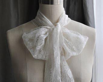 NEW Calais Lace Scarf /Dentelle de Calais/Head scarf/ Hair scarf/French fashion/Bow blouse/ Bow collar Shirt/