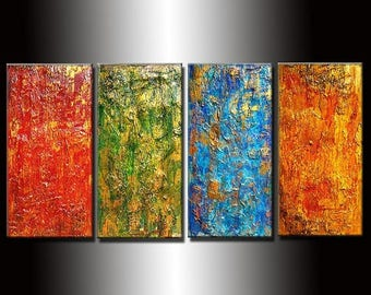 Original Textured Modern Abstract painting Contemporary Multipanel Fine Art by Henry Parsinia Large 48x24