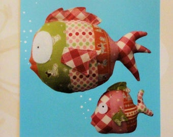 Fabric fish pattern, Melly & Me designer, Under The Sea, toy fish, 2 sizes, uncut sewing pattern DIY, stuffed toy