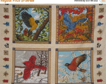 On Sale 4 Bird Panels-Winter, Fall, Spring, Summer-Birdhouse Quilting Sewing Supplies-Last Panels