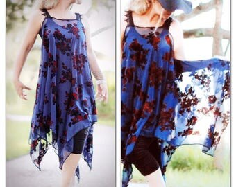 SM Gypsy Tunic Dress, Bohemian Magnolia Velvet lace Pearl tunic, Boho dresses Stevie Nicks wanderlust Gypsy, Romantic True Rebel clothing