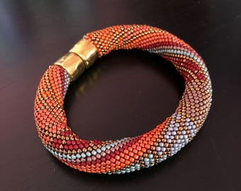 "Single Crochet with Beads ""Cranberry Delight"" 2 Bracelet Patterns & How to Crochet Instructions 2 Bracelet Patterns Included"