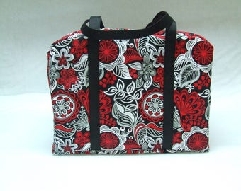 Black, Red, Gray, and White Floral Sizzix Big Shot Carrying Case / Big Shot Bag / Sizzix Big Shot Tote / Die Cut Machine Carrying Bag