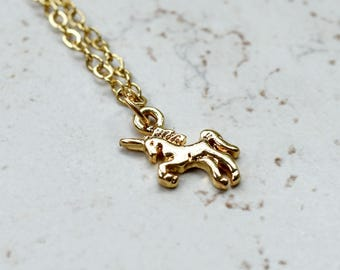 Tiny Unicorn Necklace, Small Gold Unicorn Charm Magic Golden Pendant, Whimsical Magical Jewelry