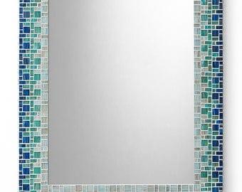 Custom Bathroom Mosaic Mirror   Sky Blue, Teal, Light Blue