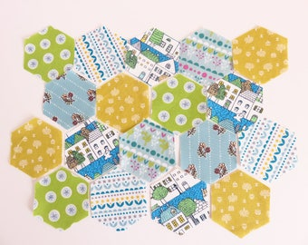 1 Inch English Paper Piecing 48 Hexagon Fabric and Paper.