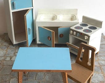 Vintage Bodo Hennig Dollhouse Furniture Kitchen Set 5 Pieces Germany Mid Century Toy