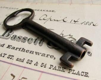 Genuine bank vault key, refinished, 3 inches, dark, distressed, aged black patina, authentic vintage key, large skeleton key, black key