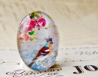 From our Beautiful Birds collection of handmade glass cabochons, songbird with crown, choose 40x30mm or 25x18mm oval, pink roses, romantic