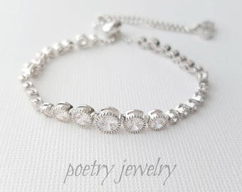 Crystal Bridal Bracelet, Bridesmaid Bracelet, Wedding Tennis Bracelet, Rose Gold, Gold, Wedding Bracelet, Zara Bracelet