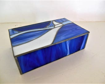 Blue, White Stained Glass Box, Mirrored Bottom, Jewelry Treasurers, Long Winding Road, Hand Made