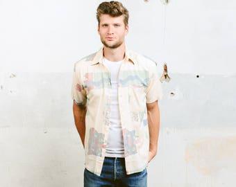 Mens Abstract Pattern Shirt . Vintage 90s Print Summer Shirt Button Down Short Sleeve Beach Shirt . size Medium M