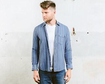 Lacoste Denim Shirt . Men Vintage Shirt Striped Pattern Faded Distressed Oxford Shirt 90s Minimalist Shirt Boyfriend Gift Idea . size Small