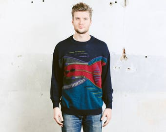 Men Vintage Coogi Style Sweater . 90s Grunge Sweater Geometric Patterned Boyfriend Sweater Aztec Print Pullover . size Large