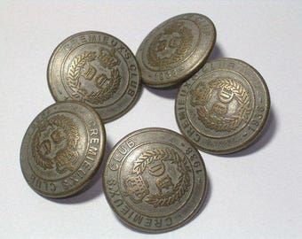 Crest Buttons Cremieux's Club Metal Buttons Very Nice 20mm Set of 5 with shanks