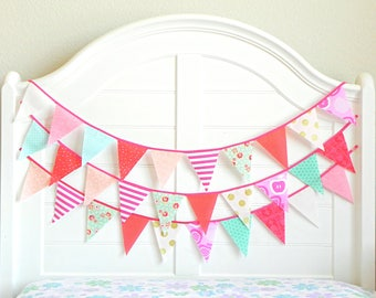 Colorful Garland, Floral Bunting, Coral and Turquoise Nursery, Mint and Pink Nursery, Watermelon Birthday, Fruit Birthday, Pennant Garland