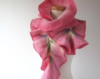 Felted scarf pink ruffle collar  Pink women scarf  Rose flower scarf wool Ruffle scarf by Galafilc