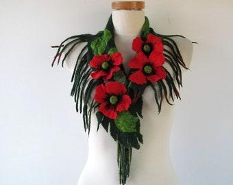 Women felted scarf Green Red poppy scarf long felted lariat Red Poppy flower Spring floral scarf Pogan wedding scarf warm wool scarf