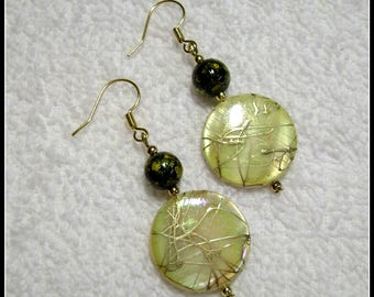 Yellow And Gold Earrings - Shell Earrings - Earrings - E226