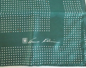 Anne Klein Silk Scarf Green White and a few Red Dots