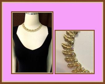 Gold Tone Leaf Choker, Aurora Borealis Rhinestones, Adjustable, Vintage 1970's